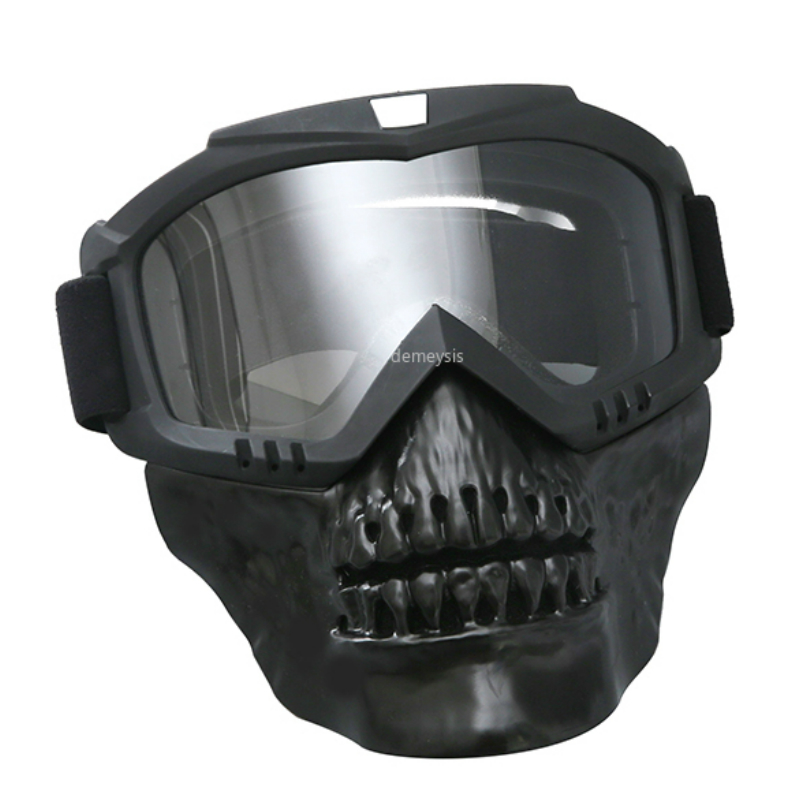 Outdoor Motorcycle Windproof Mask Military Airsoft Mask With Goggles Full Face Tactical Shooting Detachable Mask Goggles