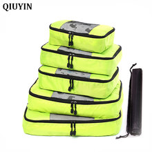 QIUYIN 5 Pcs Travel Storage Bag Waterproof Clothes Packing Cube Luggage Organizer Set High Quality Oxford Cloth PCS/Set