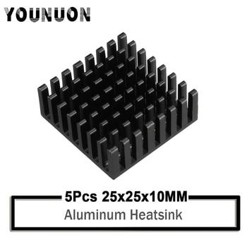5Pcs YOUNUON Black 25x25x10mm Aluminum Heatsink for Chip CPU GPU VGA RAM IC LED Heat Sink Radiator Cooling with 3M Tape