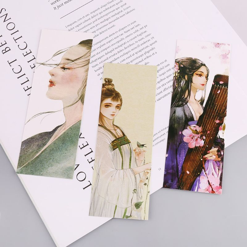 30pcs Beautiful Girl Bookmarks Paper Page Notes Label Message Card Book Marker School Supplies Stationery DXAC