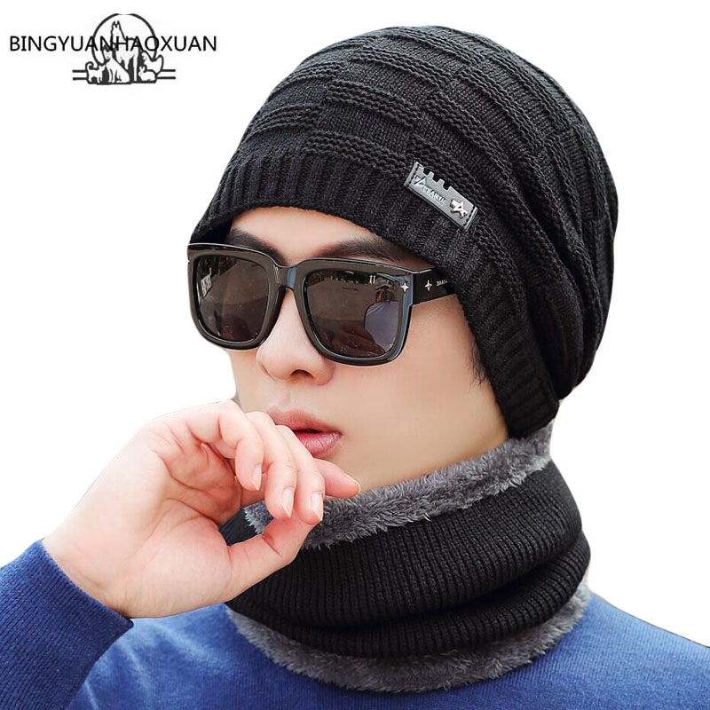 2-Pieces Winter Beanie Hat Scarf Set Warm Knit Hat Thick Fleece Lined Winter Hat & Scarf For Men Women Thick Skull Cap For Men