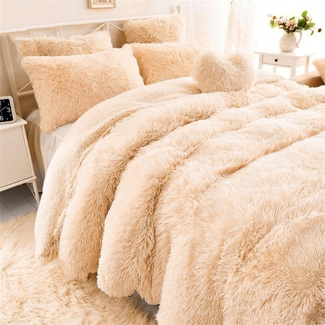 160x200CM Super Soft Shaggy Fur Double-layer Plush Blanket Fuzzy Cozy With Fluffy Sherpa Throw Blankets Bed Coral Blanket 1