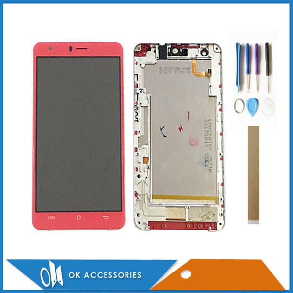 Original For BQ Mobile BQ-5503 Nice 2 BQS-5503 BQ5503 LCD Display Touch Screen Sensor Assembly Black Red + Frame With Tools Tape