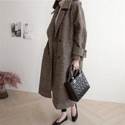 HziriP Chic Dikke Plaid Elegante Jas Wollen Streetwear Warm Windjack Nieuwe Vrouwen Geul Mode Lange Vrouwelijke Plus Size Overjas