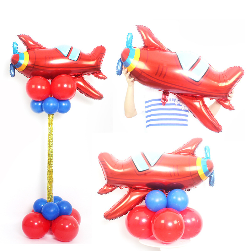 Boy Car Train Airplane Toy  Balloon Aluminum Foil   Children's First Birthday Party Decoration Cartoon Hat