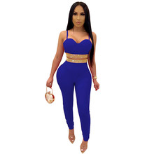 Casual Tracksuit Spaghetti Strap Crop Top +Pencil Pants Two Piece Suit Night Club Wear Matching Sets Outfits