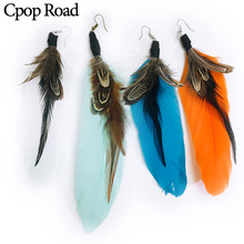 Cpop Vintage Boho Long Colorful Feather Earrings Ethnic Elegant Statement Earring Fashion Jewelry Women Gift Hot Sale Wholesale