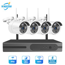 Wheezan Wifi CCTV Camera Security System Kit 4CH 1080 P NVR 1 T HDD 720 P Draadloze camera Thuis Surveillance outdoor IP Cam Set