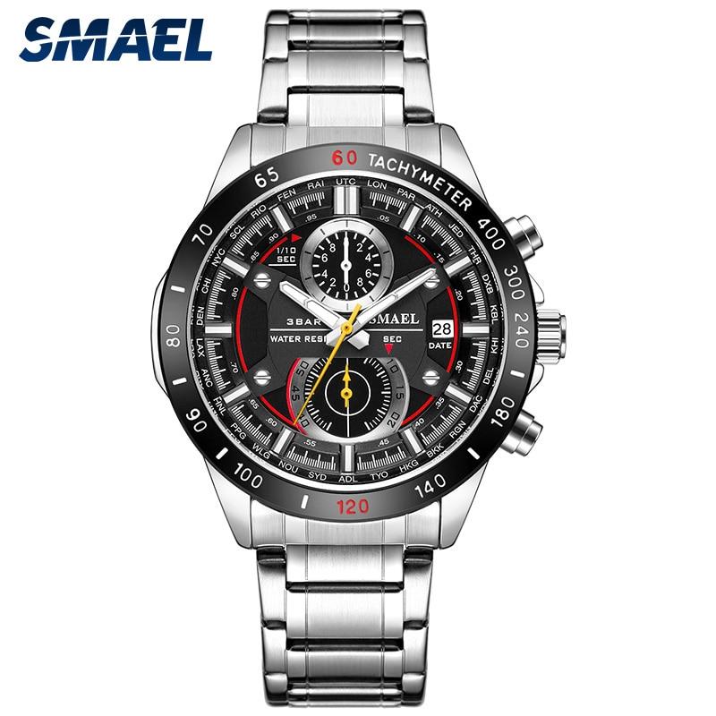 SMAEL Fashion Men Watches Stainless Steel Strap Waterproof Quartz Watch Date Chronograph Male Wristwatch Clock Montre Homme 9064