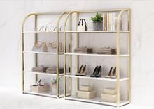 Clothing store shoe rack bag rack display rack shoe store display rack gold shelf босоножки hey beautiful shoe store 603 2015