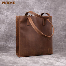 PNDME retro crazy horse leather men's women's handbags tote bag simple high quality genuine leather ladies luxury shopping bag shaggy deer 37cm mid top quality genuine leather 100% soft sheepskin fala stella shopping tote luxury classical chain bag