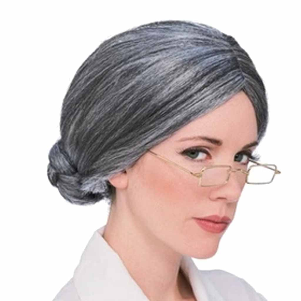 Hot Old Lady Grandma Hairpieces Ladies Gray Short Fancy Dress Wig Cosplay Old Women Synthetic Grey Hair Straight Style Olded