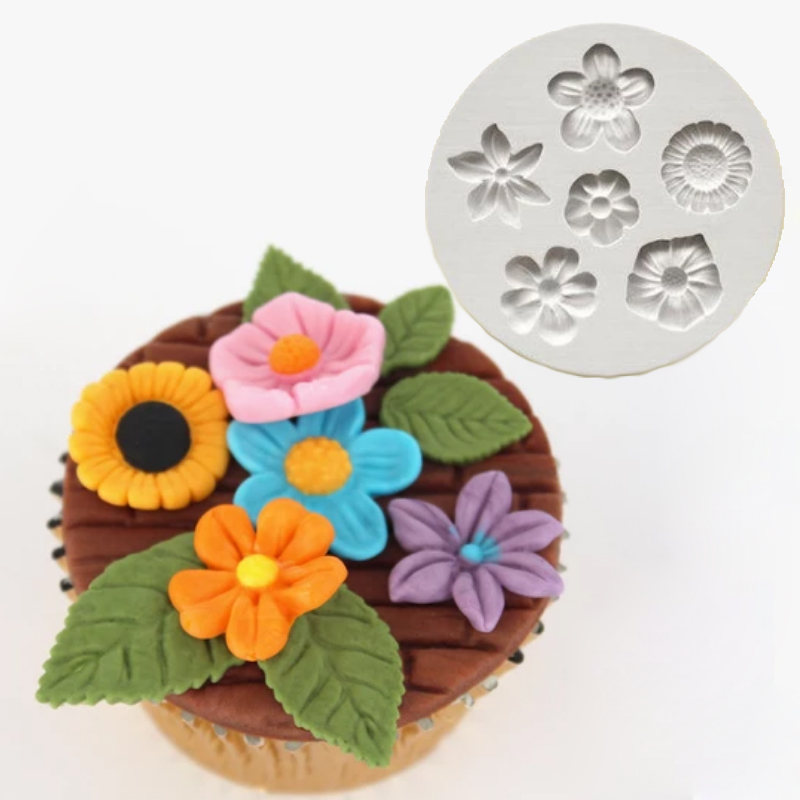 Flowers Mould <font><b>Silicone</b></font> <font><b>Mold</b></font> <font><b>Fondant</b></font> <font><b>Cake</b></font> <font><b>Decorating</b></font> <font><b>Tool</b></font> Gumpaste Sugarcraft Chocolate Forms Bakeware <font><b>Tools</b></font> image