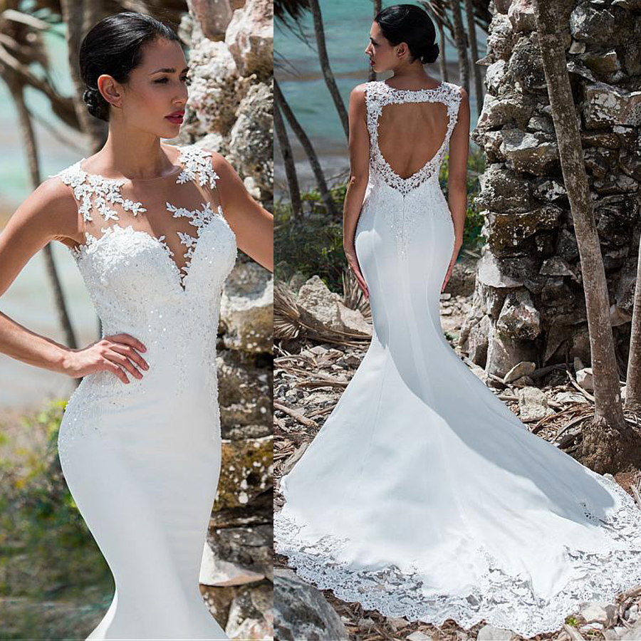 Romantic Four Way Spandex Jewel Neckline Mermaid Wedding Dress Open Back Trumpet Bridal Dress