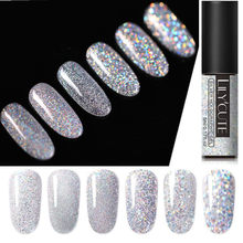 LILYCUTE Laser Silver UV Nail Gel Polish Holographic Glitter 5ml Nail Polish Gel Lacquer Soak Off UV Led Nail Varnish(China)