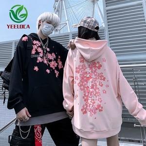 Image 1 - 2019 livraison directe Style chinois cerisier fleur à capuche surdimensionné Couple haute rue Hip Hop Rock Band sweat automne hiver