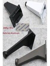 4 pz/lotto Ufficio Inclinato Piedi In Alluminio Mobili Per Ufficio Armadio Armadio Armadio Commerciale Gamba Bianco Nero di Ferro Grigio