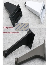 4 sztuk/partia biuro skłonni aluminiowe nóżki meble biurowe szafka szafka handlowych szafka noga biały czarny żelaza szary