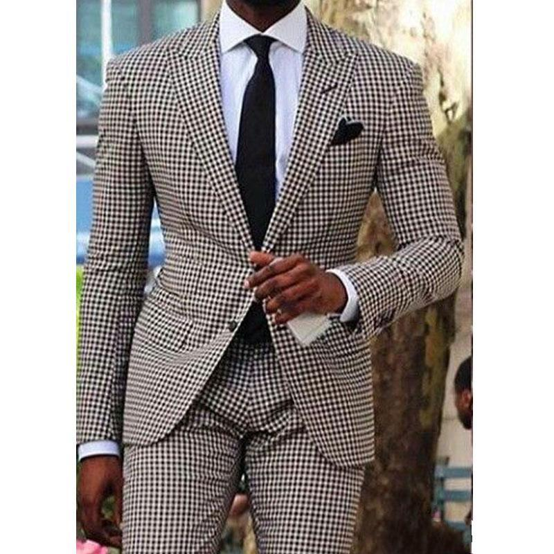 Groom Two Pieces Tuxedos Men Wedding Notch Lapel Houndstooth Blazer Men Dinner Party Business Suit Wedding Dresses(Jacket+Pants)