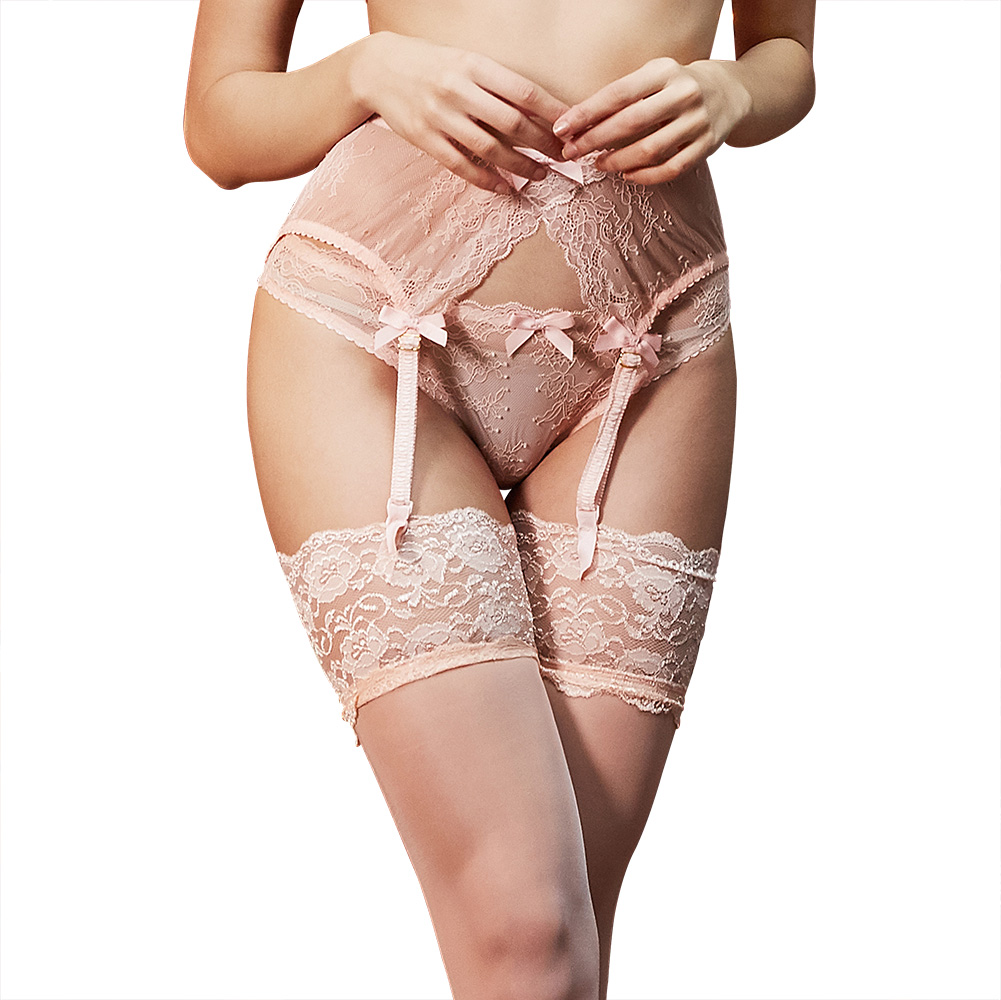 Women's Sexy Fashion Lace Black/Wine Red Suspender Belt Wedding Garters Belts+thong+ Stockings 3 Pcs/lots