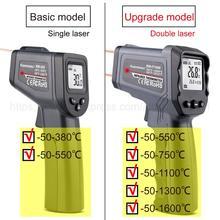Thermomètre Infrarouge numérique-50 ~ 380/550/750/1100/1300/1600 degrés simple/Double laser
