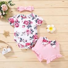 3PCS Newborn Baby Girls Summer Clothes Set Ruffle Romper Tops Floral Print Short Pants Headband Toddler New Born Kids Outfits