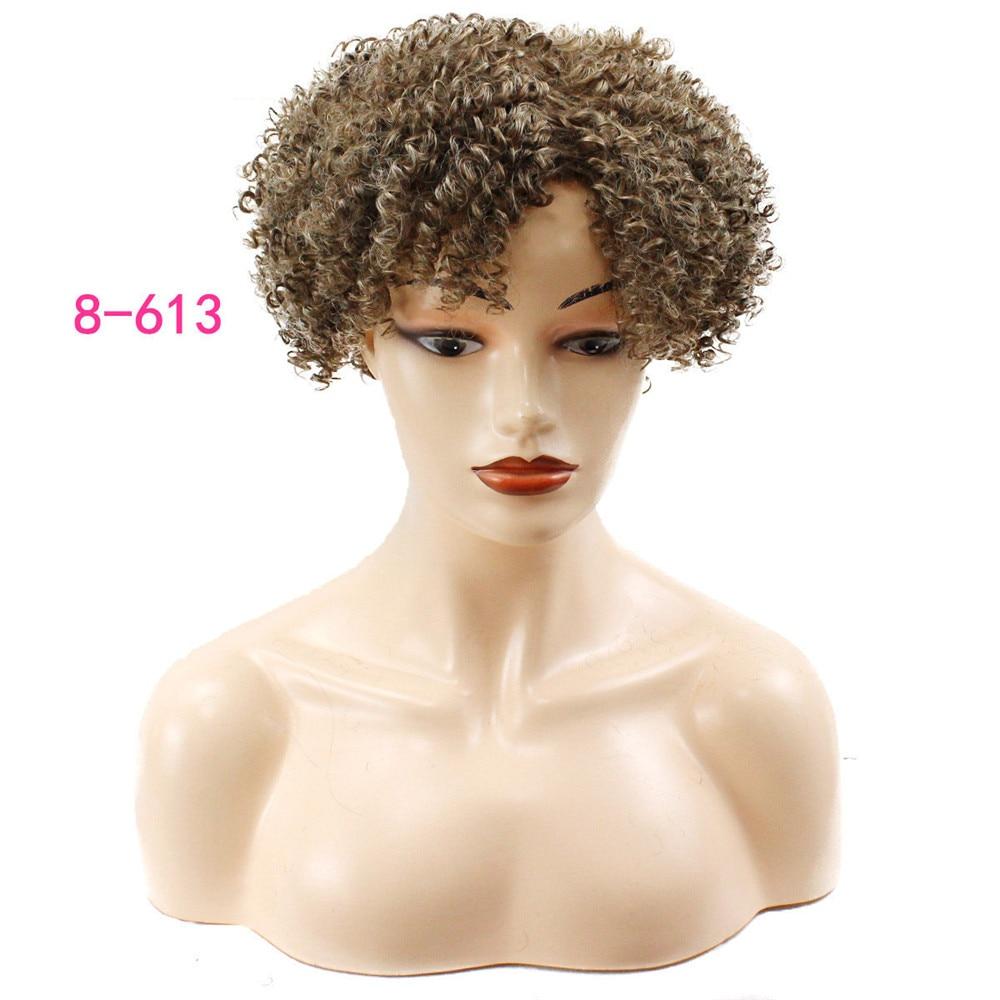 Feminino curto ondulado encaracolado peruca sintética preto