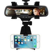 Universal Car Rear View Mirror Mount Smartphone Stand Holder For Car  Vehicle  Smart Phone  Cell Phone  Mobile Phone