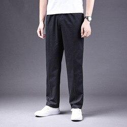 Весенние и осенние мужские повседневные брюки, прямые свободные, большие размеры, рабочие брюки, хлопковые мужские брюки с эффектом потерто...