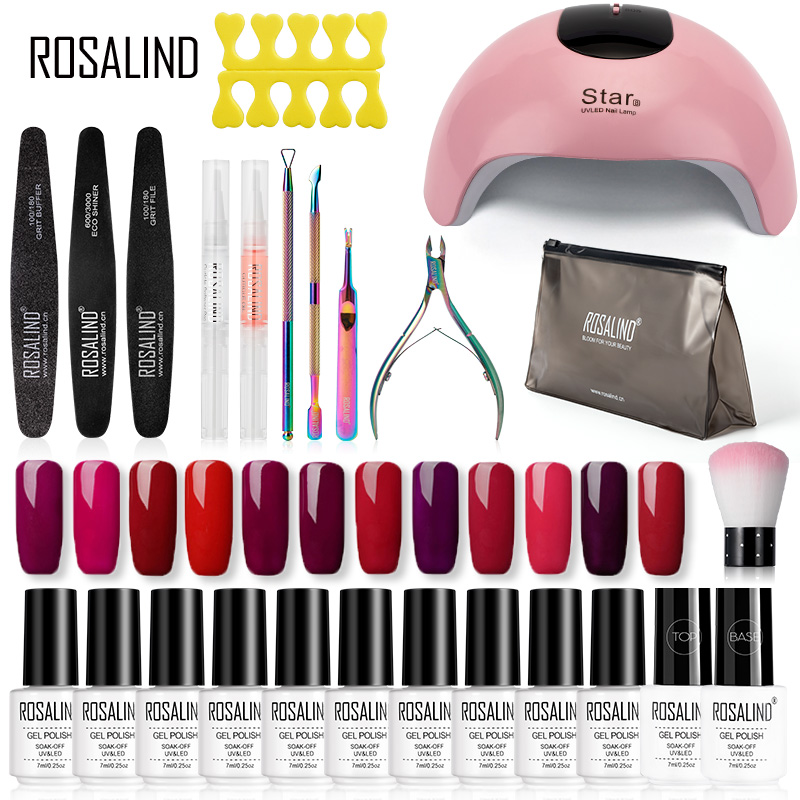ROSALIND Gel Nail Polish Kit Hybrid Varnish Set Semi Permanent Gel Nail All For Manicure UV LED Gel Lacquer Soak Off Nail Art