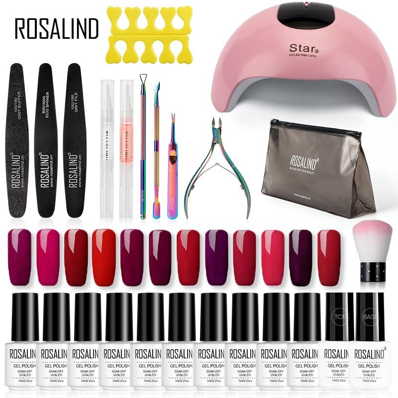 ROSALIND Gel Nail Polish Kit Hybrid Varnish Set Semi Permanent Gel Nail All For Manicure UV LED Gel Lacquer Soak Off Nail Art
