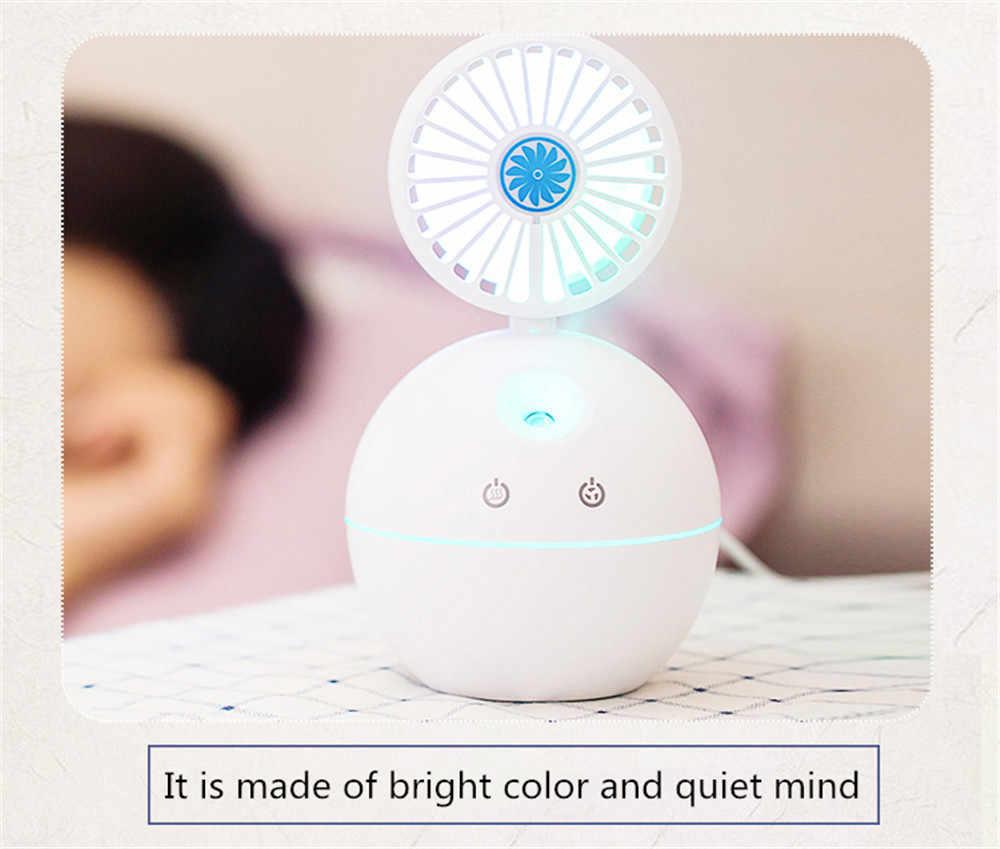 Neue Ultraschall Kühlen Nebel-luftbefeuchter mit Fan Tragbare USB 130ml Kapazität mit 7 Farbe Nacht Lichter Kleine Persönliche Desktop