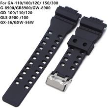 16mm zegarek z gumy silikonowej pasek pasuje do Casio G Shock zamiennik czarna wodoodporna paski do zegarków akcesoria tanie tanio KALAWO CN (pochodzenie) 21cm RUBBER Nowy bez tagów EDHG needle clasp
