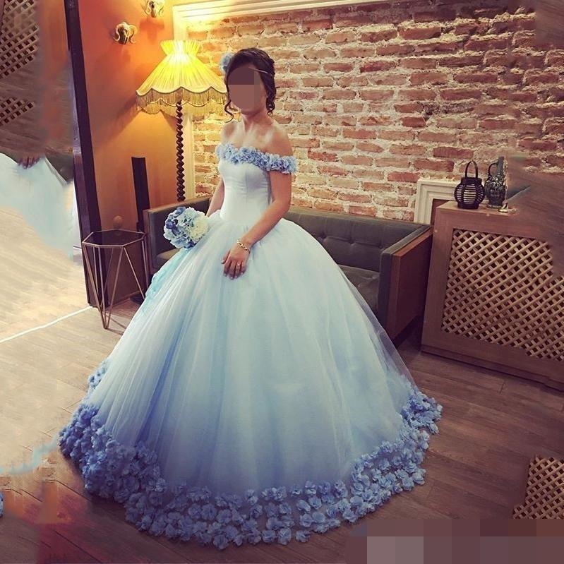2019 Light Blue Quinceanera Dresses Ball Gown Off the Shoulder Handmade Flowers Tulle Sweet 16 vestidos de 15 anos prom dress