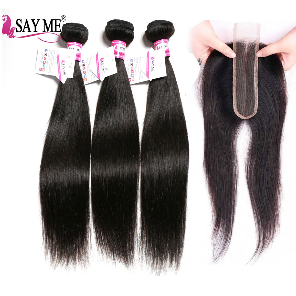 Peruvian Hair Bundles With Closure Straight Hair Bundles With Kim K 2*6 Lace Closure Natura Remy Human Hair Bundles With Closure
