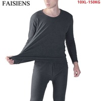 9XL 10XL Men Long Johns Thermal Leggings Underwear Plus Size 7XL 8XL Elasticity Man Soft Black Underwear 60 Tops+ Pants Bottoms