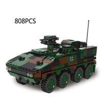 Guerra mundial militar 1:30 escala carro blindado moc batisbricks bloco ww2 exército forças tijolos gtk boxer bundeswehr veículo brinquedos