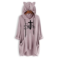 2019 Fashion T-Shirt For Women Mid Sleeve Hooded T-Shirt Faith Letters Print Tops Harajuku T-Shirt Femme Summer Off The Shoulder convertible off the shoulder t shirt