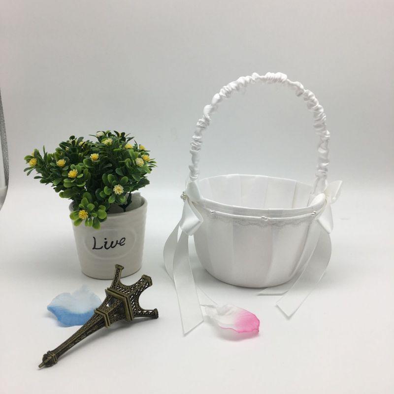 Свадебная Цветочная корзина с ручкой для винтажной цветочной корзины для Свадебная церемония, вечеринка QM8047 [