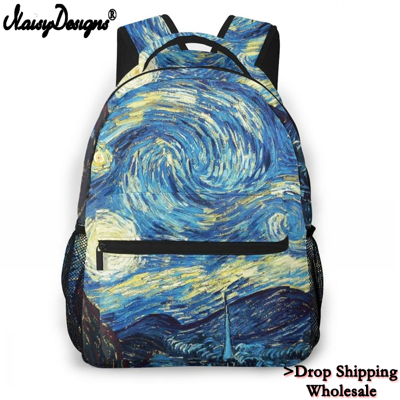 2020 Fashion Women <font><b>Canvas</b></font> Backpack Children Van Gogh Famous oil Painting <font><b>Mochila</b></font> For Teen Boy Girls <font><b>Escolar</b></font> Laptop Dropshipping image