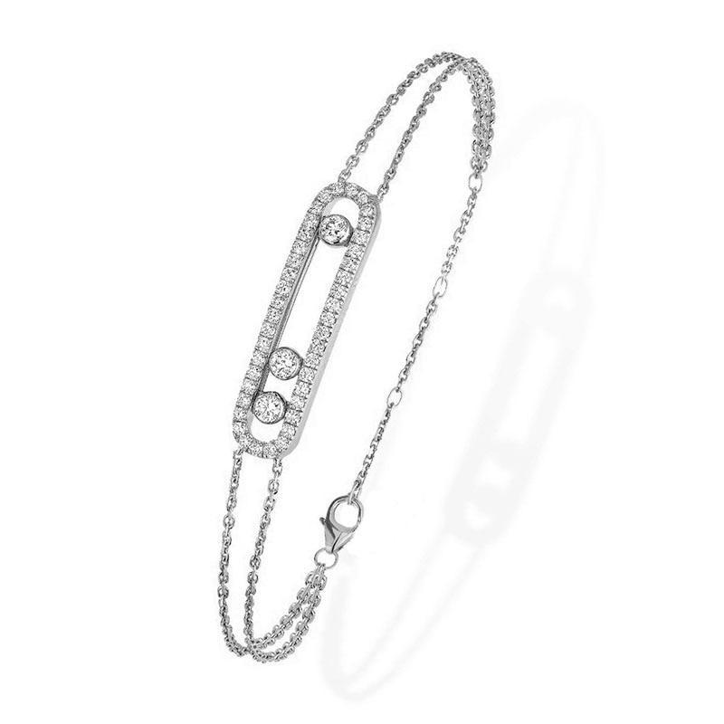 100% 925 Sterling Silver Moved Stone Bracelet Necklace With For Women Adjustable Zise Bracelet France Collier En Argent Jewelry