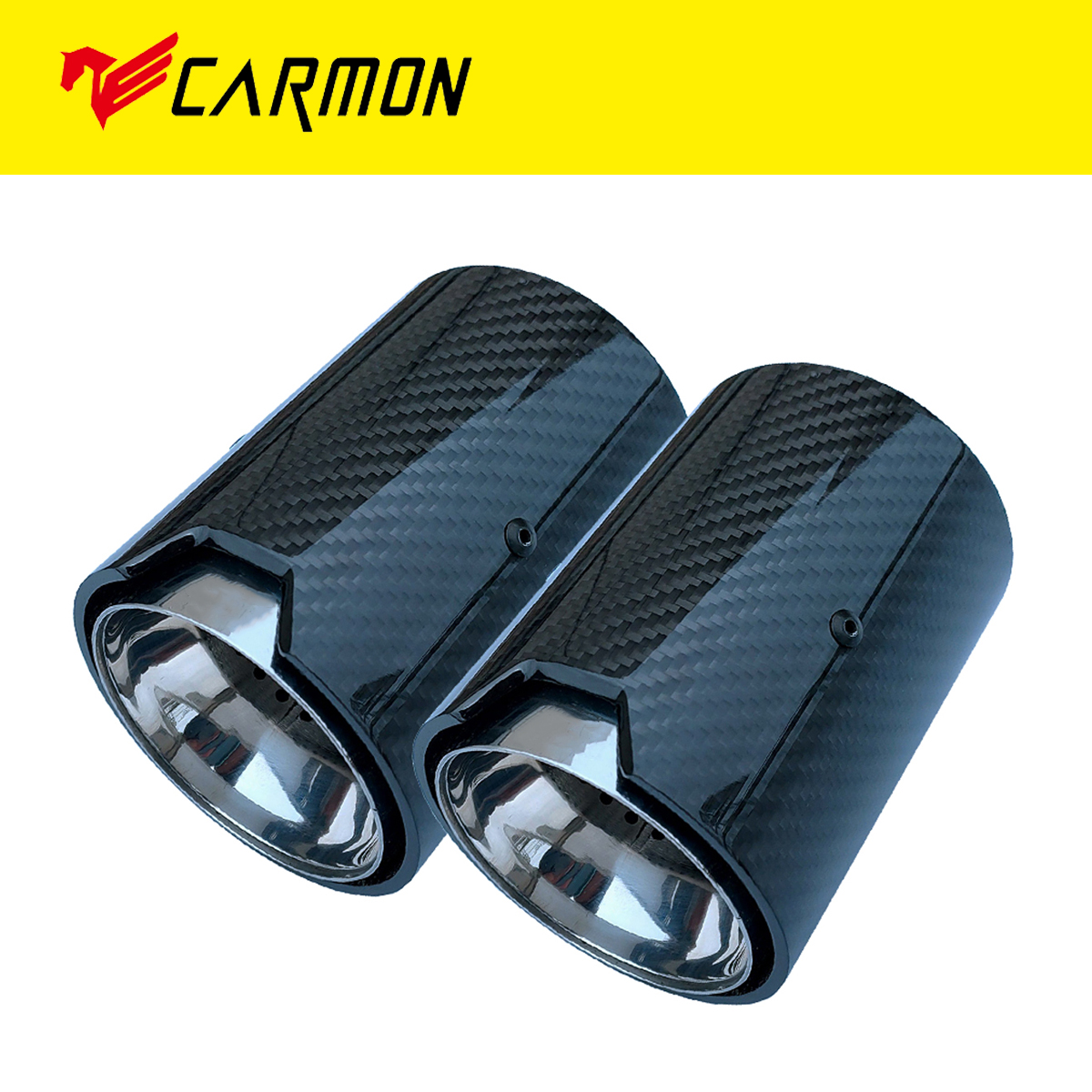 2PCS Real Carbon Fiber Exhaust Pipe Muffler Tip For BMW M Performance Exhaust Pipe M2 F87 M3 F80 M4 F82 F83 M5 F10 M6 F12 F13