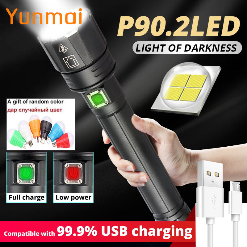 Newest 2020 XHP90 Xhp90.2 Xhp70.2 Powerful USB LED Flashlight Torch Hand Lamp 26650 Rechargeable Tactical Flashlight For Camping