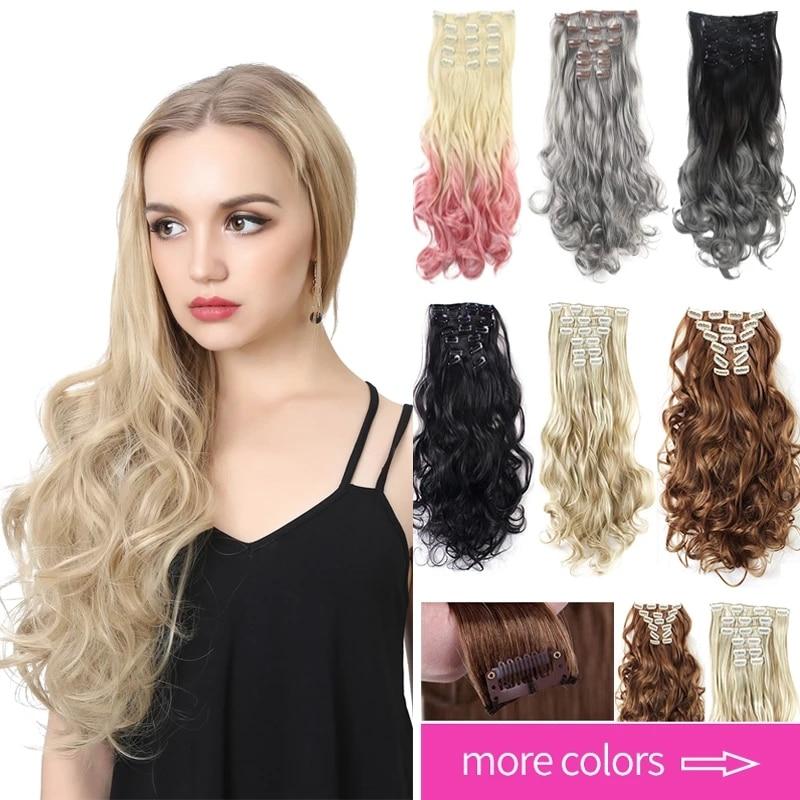 Синтетические накладные волосы на клипсе, Омбре, Bayalage, 7 шт., кудрявые серые волосы для женщин, коричневые, светлые, розовые, 20 дюймов, искусст...