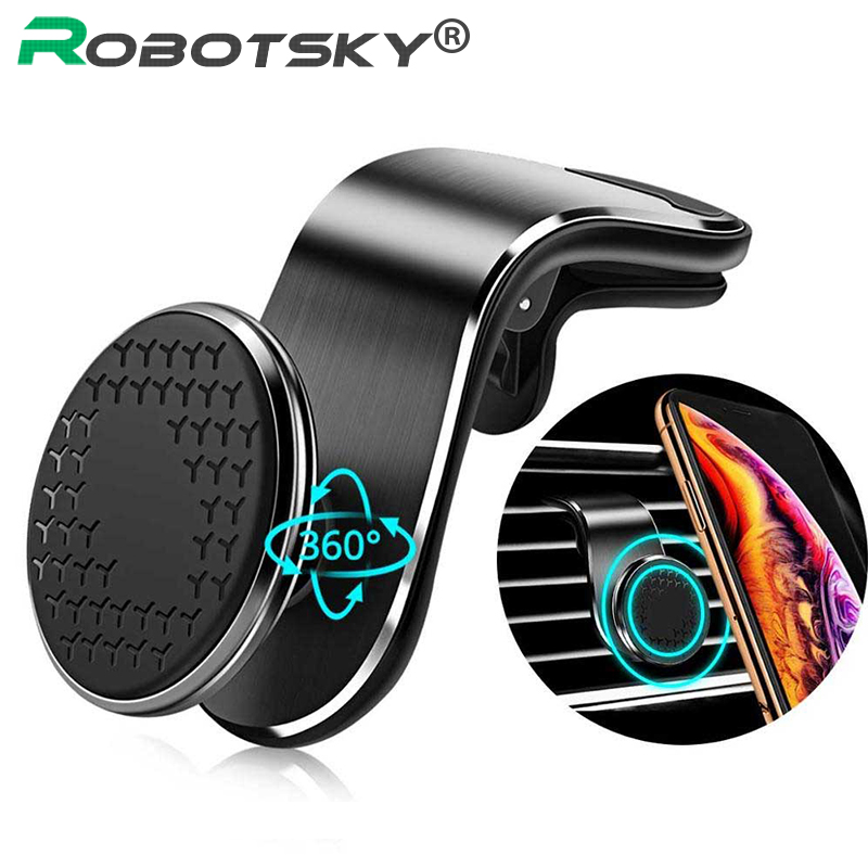 Magnetic Car Phone Holder 360 Degree Mental Air Vent Clip Mount Magnet Mobile Stand  For IPhone XS Max