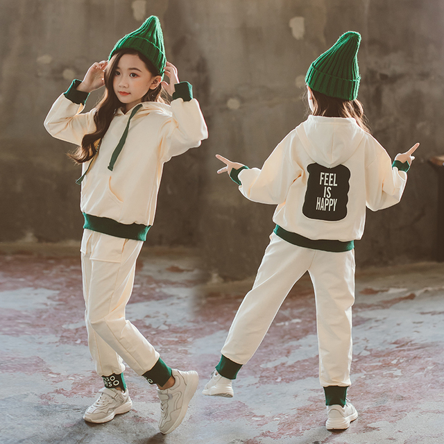 幼児の女の子の服春子供服綿長袖パーカースウェット + パンツファッション十代の少女服 12Y
