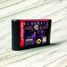 """האולטימטיבי מורטל קומבט 3 ארה""""ב תווית Flashkit MD Electroless זהב PCB כרטיס עבור Sega Genesis Megadrive וידאו קונסולת משחקים"""