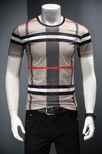 Image 3 - 2019 남자 셔츠 여름 짧은 소매 패션 라운드 칼라 t 셔츠 인쇄 통기성 남자 t 셔츠