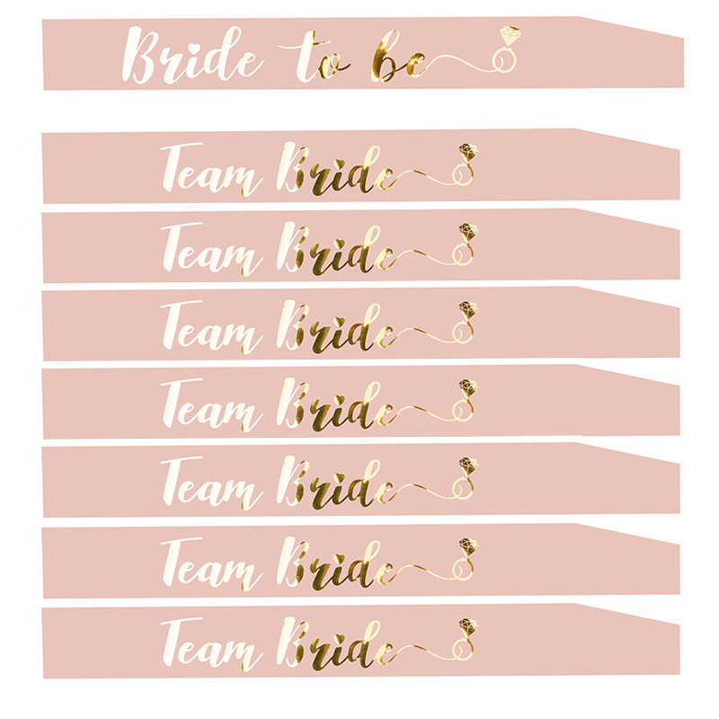 Image 2 - Bride To Be Sash Hen Party Decoration Glasses Team Bride Badge for Hen Party Wedding Bridal Shower Gold Letter HW67-in Party DIY Decorations from Home & Garden