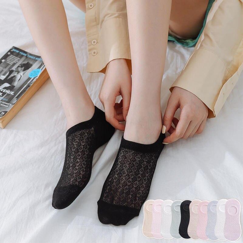10 шт. = 5 пар/лот, невидимые кружевные хлопковые Дышащие носки карамельных цветов, женские летние повседневные короткие носки до лодыжки для ...